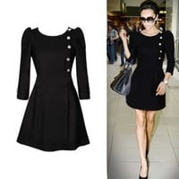 VICTORIA BECKHAM Style / Side Buttons Decorated Three-quarters Sleeves Round Neckline Dress / Women's Dresses (FF-1802BG005-0736) - US$ 39.99