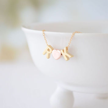 Letter Heart Letter Love Necklace with Heart