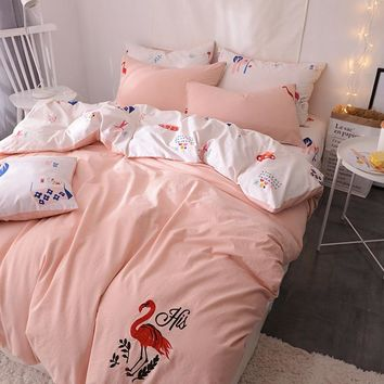 RUIYEE 100% Cotton Flamingo embroidery A/B DUAL USE Luxury Oriental Bedding set Bed set Bed linen package Bedsheet Pillowcases