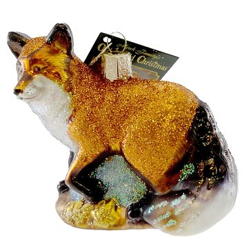 Old World Christmas RED FOX Glass Ornament Wild Life Animal Zoo 12189