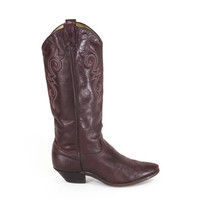 Vintage Cowboy Boots Burgundy Wine Tall Western Boots Womens Size 7.5