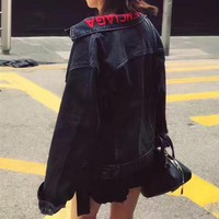 """Balenciaga"" Women Casual Fashion Letter Embroidery Long Sleeve Cardigan Denim Small Coat"