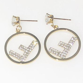 FENDI Popular Women Chic F Letter Shiny Diamond Earrings Jewelry Accessories Golden