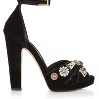 Embellished crossover-strap velvet sandals | Alexander McQueen | MATCHESFASHION.COM US