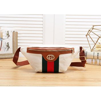 GUCCI Fashion New Stripe Canvas Shopping Leisure Shoulder Bag Women Waist Bag Beige&White