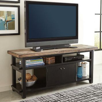 Wylder collection rustic brown and black finish wood mid century modern style TV stand