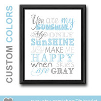 you are my sunshine nursery subway art new baby gift baby quotes sunshine kids wall art baby boy nursery wall saying kids quote blue grey