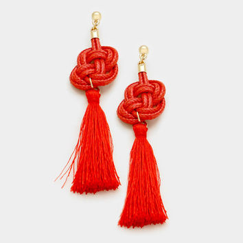 Red Thread Tassel Knot Earrings