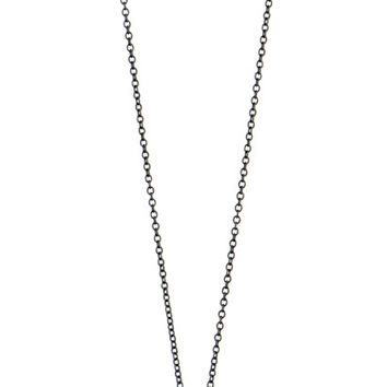 Sterling silver, oxidized long vertical bar necklace with black cz diamonds