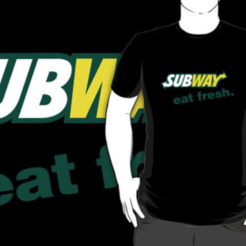 Subway restaurant logo black t-shirt