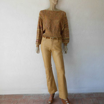 Vintage Leather Pants, 80's Glove Soft Leather Pants, Golden Tan Leather Pants, Soft Glove Leather