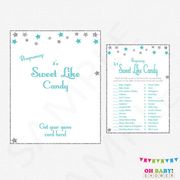 Baby Shower Games Printable Boy Candy Bar Game Candy Match Twinkle Twinkle Little Star Instant Download Silver Gray Teal Baby Shower STGST