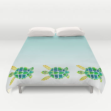 Swimming Baby Sea Turtles Duvet Cover by Catherine Holcombe