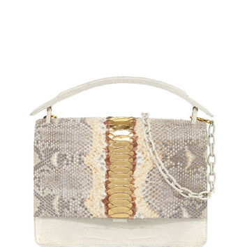 Nancy Gonzalez Python Medium Top Handle Bag, Gold/Multi