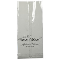 Just Married Clear Large Cellophane Cello Candy Bar Bags Foil Stamped Personalized Treat Wedding Favors Custom Bridal Shower Rehearsal