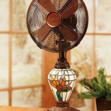"24"" Elegant Bird of Paradise Floral Glass Mosaic Oscillating Table Fan and Lamp:Amazon:Home & Kitchen"