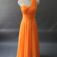 Orange bridesmaid dress - long bridesmaid dress / long evening dress / orange evening dress / chiffon evening gown / orange party dress