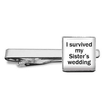 I survived my Sister's Wedding - Brother of the Bride - Cufflinks Tieclip Keyring - For Brother for Wedding Day, lovely gift from Bride