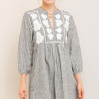 Faded Black Embroidered Shirt Dress