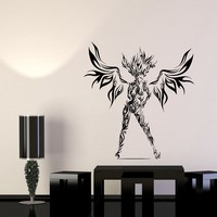 Wall Decal Angel Girl Woman Devil Flames Beauty Vinyl Sticker Unique Gift (ed746)