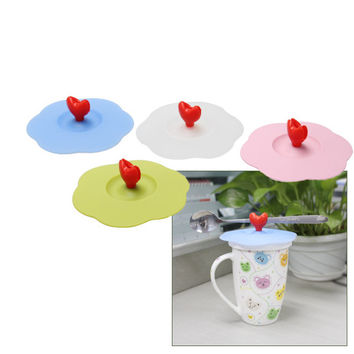 Silicone Lid Watertight Stylish Cup Mug Cover With Heart Shape Spoon Holder Bowl Cover Creative Cup Cover and Spoon Holer