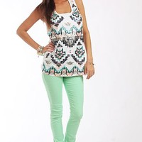 Sequin Tribal Tank, White