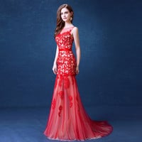 Vintage Red Velvet Lace with Court Train