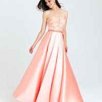 Madison James 16-326 In Stock Coral Size 6 Lace Applique Satin Ballgown Prom Dress
