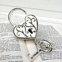 Cast Iron Heart Lock and Key, Shabby Chic and Distressed, Romance Home Decor, White Wedding Decor