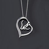 Women's 925 Sterling Silver CZ Mother and Child Horse Head Open Heart Pendant Necklace Clear
