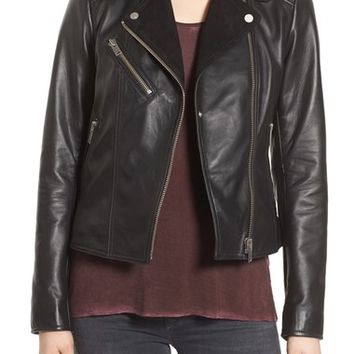 7 For All Mankind Suede Lapel Leather Moto Jacket   Nordstrom