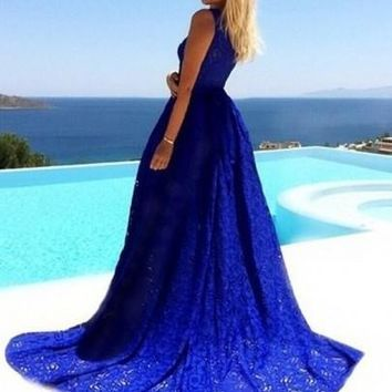 Blue Plain Lace Hollow-out Round Neck Sleeveless High Waisted Elegant Casual Party Maxi Dress