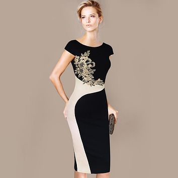 Womens Elegant Vintage Embroidered Contrast Slim Casual Work Special Occasion Party Pencil Sheath Embroidery Dress 215