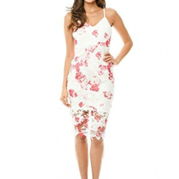 White V-Neck Sexy Strap Floral Print Crochet Midi Dress