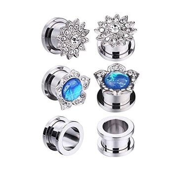 BodyJ4You 6PC Screw Fit Ear Plugs Surgical Steel Created-Opal Stretcher Flower Gauge Set 12mm (1/2 Inch)