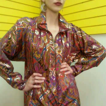 Vintage 70s OSCAR De La RENTA hostess lounge CAFTAN cocktail Maxi gown Dress one size fits most