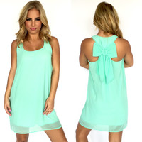 T-Back Bow Shift Dress In Mint