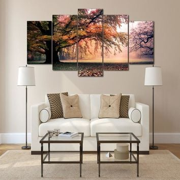 Autumn Tree Forest Canvas Panel Wall Art Print Poster Picture for Living Room