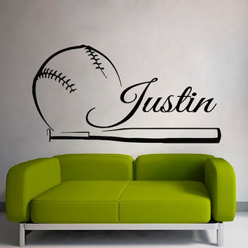 Baseball Wall Decals Boy Personalized Name Sport Boy Sportsman Stickers Home Decor Vinyl Decal Sticker Kids Nursery Baby Room Decor kk776