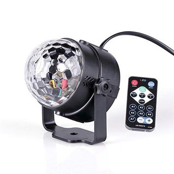 Led Stage DJ Disco Party Ball Projector Lights 3w Strobe Lamp with Remote Control 7 Color Sound Activated Stage Lighting Effect Show Wedding light (Black)