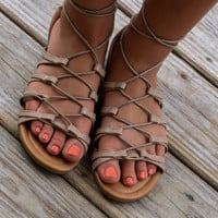 Grecian Goddess Taupe Wrap Sandals