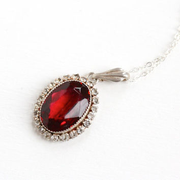 Vintage Art Deco Simulated Ruby & Rhinestone Cluster Pendant Necklace - 1930s Sterling Silver Red, White Glass Jewelry Hallmarked Martelli
