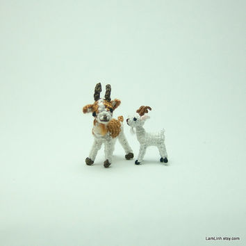 0.8 inch miniature brown and white goat  Tiny amigurumi by LamLinh