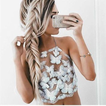 LMFHQ9 Summer Sexy White Mesh Lace Crochet Bralette Bustier Crop Top Women Casual Hollow Short Camis Tank Tops