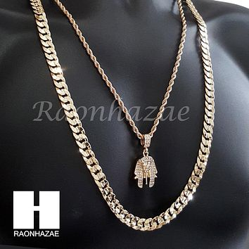 "MEN KING TUT ROPE CHAIN DIAMOND CUT 30"" CUBAN LINK CHAIN NECKLACE S068"