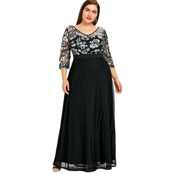 Plus Size Sequined Floral Maxi Prom 3/4 Length Sleeves Formal Dress