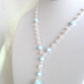 Ethiopian Opal Peruvian Opal Sterling Silver Heavens Cloud Y Necklace. Soft pastel blue AAA gemstone drop pendant lariat bridal Fine Jewelry