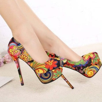 Psychedelic FLoral print Heels