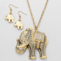 Elephant Necklace Antique Rhinestone Gold