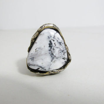 Reclaimed Silver and White Buffalo Turquoise Ring: Joy, Fleur de Lis